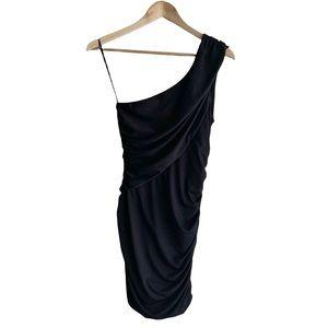 Black Guess Asymmetrical Ruched Mini Dress, S